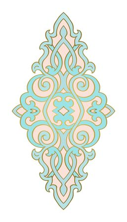 Abstract medallion for design. Turquoise and pink elegant template for carpet, wallpaper, textile and any surface. Vector ornament on a white background. Illusztráció