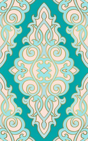 Abstract eastern pattern. Turquoise and pink ornament. Template for wallpaper, textile, shawl, carpet and any surface.