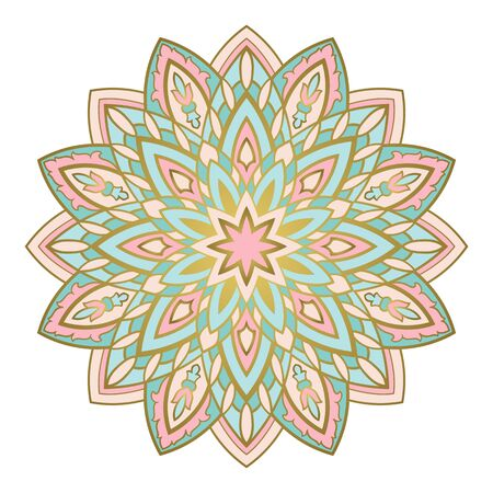 Turquoise and pink abstract mandala. Filigree gesign element. Oriental elegant ornament. Indian pattern.