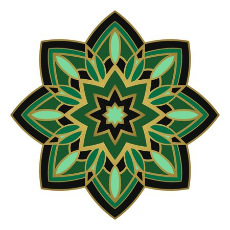 Green abstract mandala. Simple gesign element. Oriental elegant ornament. Indian green pattern.   イラスト・ベクター素材