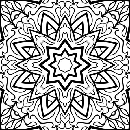 Abstract vector background. Pattern with mandala. Oriental black and white ornament. Template for carpet, textile, tile, shawl.  イラスト・ベクター素材