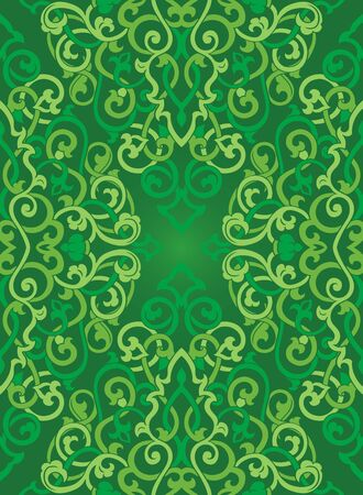 Vector abstract ornament. Medieval green template for carpet, wallpaper, shawl, textile and any surface. Ornamental pattern with filigree details.