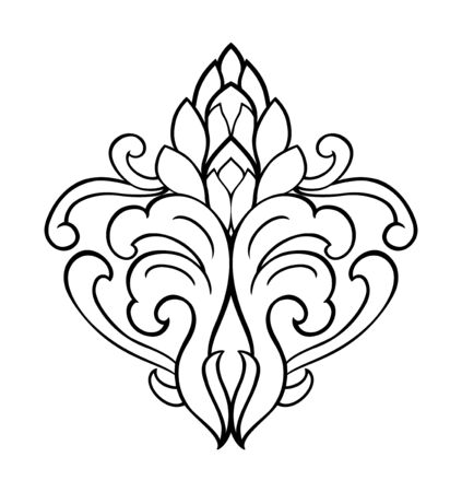 Floral element for design. Template for carpet, wallpaper, textile and any surface. Vector contour ornament on a white background.