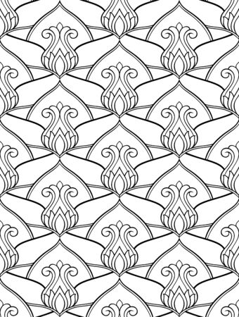 Oriental floral background. Black and white elegant ornament. Template for carpet, wallpaper, textile and any surface. Seamless vector pattern.