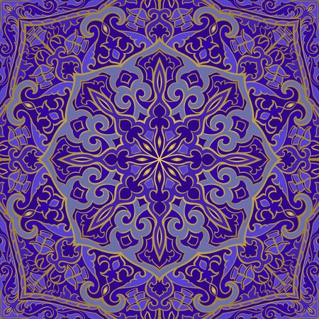 Blue indian pattern with mandalas. Vector beautiful background. Template for textile, carpet, shawl.