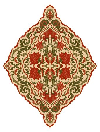 Abstract floral ornament. Template for carpet, wallpaper, textile and any surface. Vector pattern on a white background. Vintage damask. Design element.