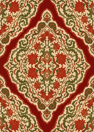 Oriental red floral ornament. Colorful template for carpet, shawl, textile and any surface. Ornamental pattern with filigree details.