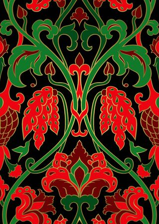 Green and red floral pattern.