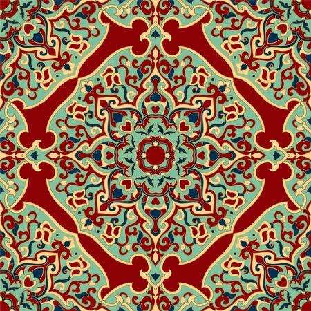 Floral indian pattern with mandala. 矢量图像