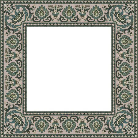 Oriental floral ornament. Template for frame, card, border. Vector pattern with place for your text, photo or mirror.