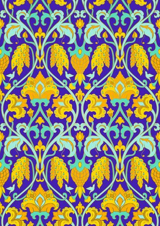 Seamless pattern of blue and yellow floral pattern.