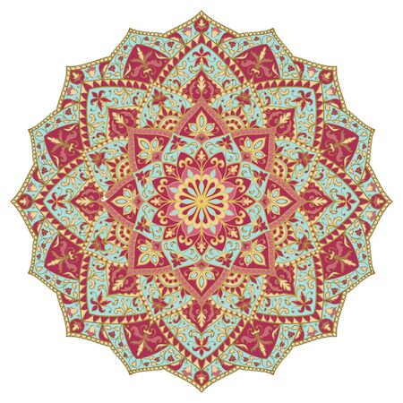 Colorful abstract mandala. Floral gesign element. Oriental elegant ornament. Indian pink and blue pattern. 矢量图像