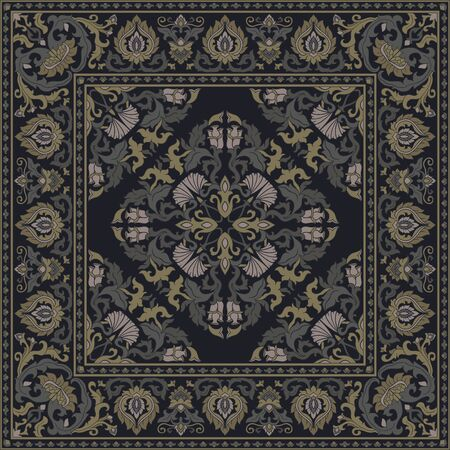Template for carpet, textile, cushion, shawl. Oriental floral ornament with frame. Pattern with ornamental flowers. Illustration