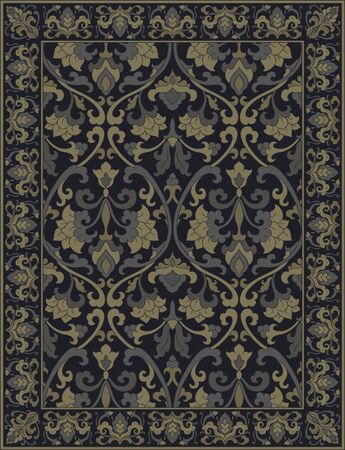 Template for carpet, textile, shawl. Oriental floral ornament with frame. Dark pattern with ornamental flowers.