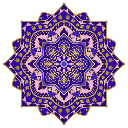 Colorful indian mandala. Traditional gesign element. Oriental elegant ornament. Blue pattern for any surface.