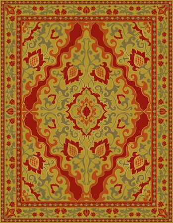 Template for carpet, textile, shawl. Oriental floral ornament with frame. Yellow pattern with ornamental flowers. 矢量图像