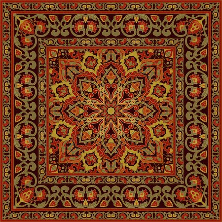 Template for carpet, textile, cushion, shawl. Oriental floral ornament with frame. Pattern with ornamental flowers. Ilustracje wektorowe