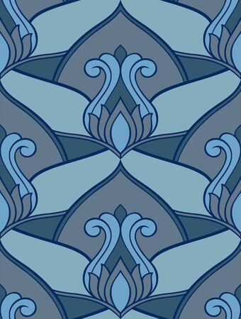 Oriental floral seamless vector pattern. 矢量图像
