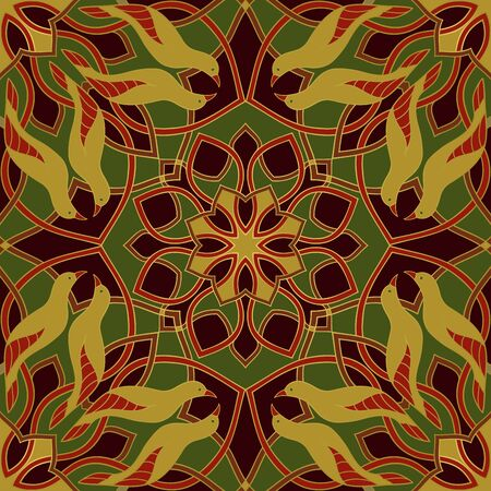 Abstract pattern with birds and mandalas.