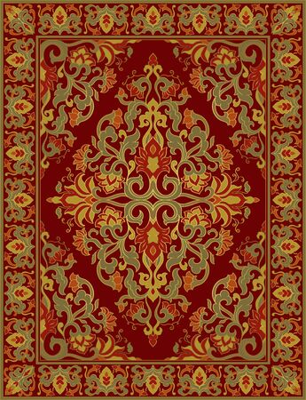 Template for carpet, textile, shawl. Oriental floral ornament with frame. Red pattern with ornamental flowers.