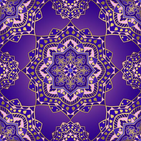 Colorful indian pattern with mandalas.