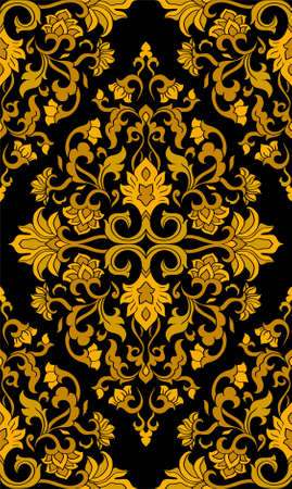 Oriental floral ornament. Colorful template for carpet, shawl, textile and any surface. Ornamental yellow pattern with filigree details.