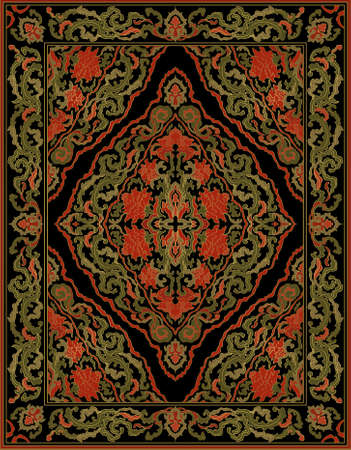 Template for carpet, textile, shawl. Oriental floral ornament with frame. Pattern with red flowers.