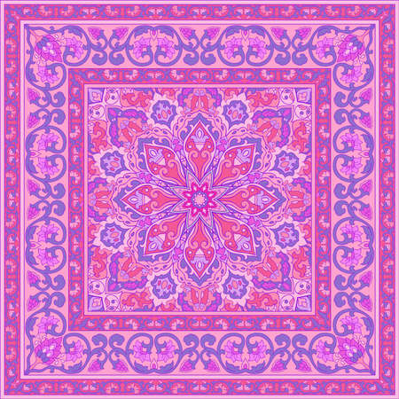 Template for carpet, textile, cushion, shawl. Oriental floral ornament with frame. Pink pattern with ornamental flowers.