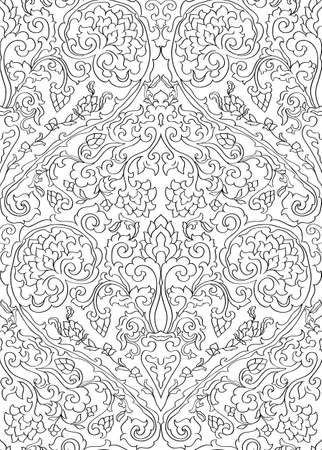 Abstract pattern with damask. Floral filigree ornament. Black and white template for wallpaper, textile, shawl, carpet. 矢量图像