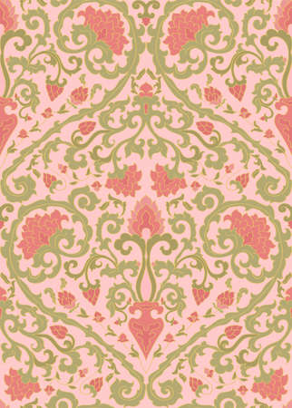 Pattern with ornamental flowers. Pink floral ornament. Template for wallpaper, textile, shawl, carpet and any surface.
