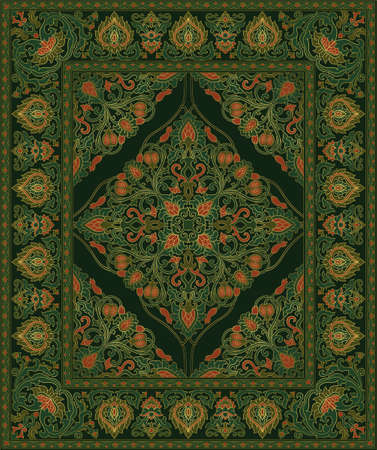 Colorful template for carpet, textile. Oriental pattern with pomegranate. Green vector background. Floral pattern with frame.