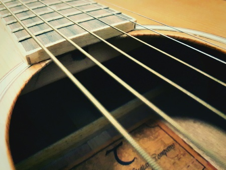close: Close up of a guitar