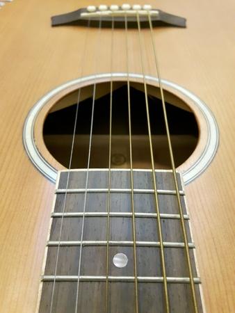up: Close up of a guitar