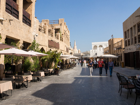 streetscene: Souq Waqif is popular marketplace in Doha, Qatar. The souq is noted for selling traditional garments, spices, handicrafts, and souvenirs.