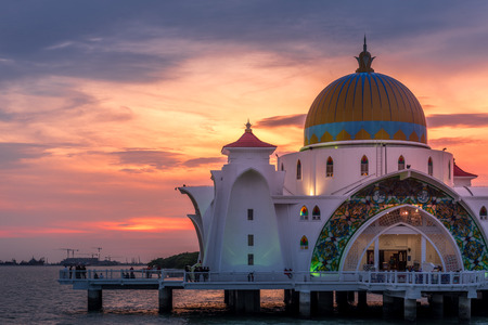 Beautiful sunset over Malacca Straits Mosque