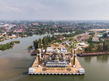 Aerial view of Cristal Mosque or Masjid Kristal,Kuala Terengganu, Terengganu, Malaysia taken by drone. Stockfoto - 118181424