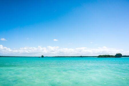 seascape of famous Upi bay, new caledonia: turquoise lagoon, typical rocks, blue sky Stock fotó