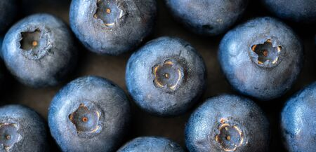 macrophotography of blueberries on a wooden background. top view, banner
