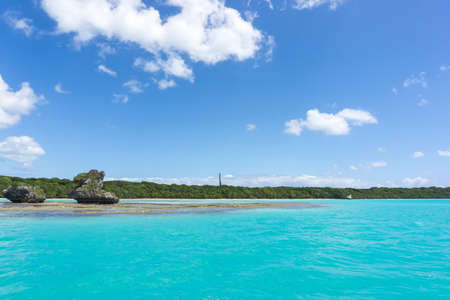 seascape of Pines Island, new caledonia: turquoise lagoon, typical rocks, blue sky