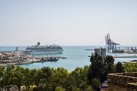 Malaga, Spain - Aprile, 10 2015: View of the port of Malaga from Alcazaba with cruise ships in background.
