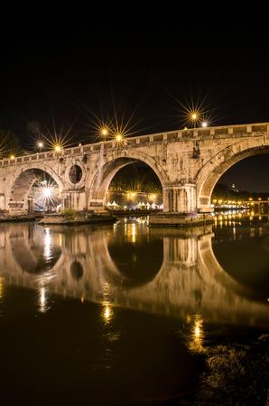 tiber: Sisto Bridge reflected in the Tiber river