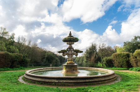tranquillity: Ancient fountain in Villa Pamphili, Rome, Italy. Stock Photo