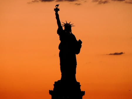 Statue of Liberty in sunset photo