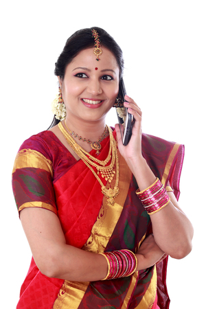 Indian woman talking on cellphone