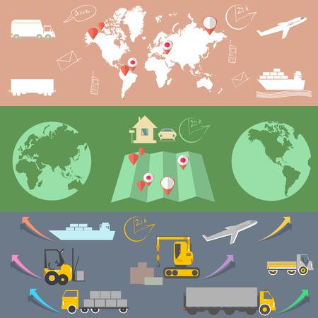 global logistics: Logistic and transport, Logistic concept flat banners