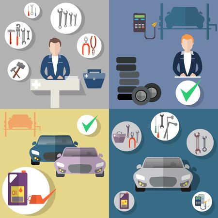 auto service: Auto repair, tire service, diagnostics of the vehicle, vehicle repair, flat icon set