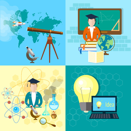 Education concept: student, school board, textbooks, science, mathematics, notebook, chemistry, physics, computer, astronomy, online learning, scholar, vector illustration