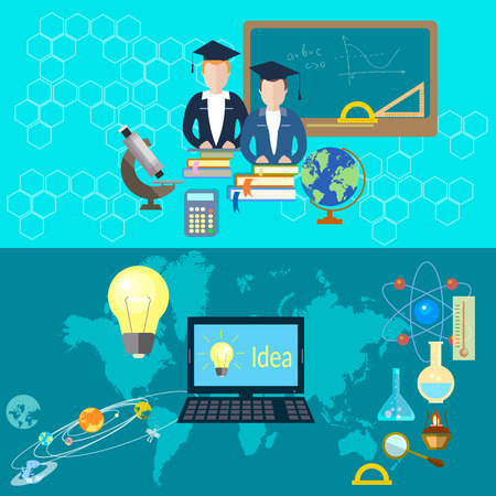 Training and education: school board, teacher, student, mathematics, algebra, globe, textbooks, computer, chemistry, physics, scientist, research, astronomy, vector banners