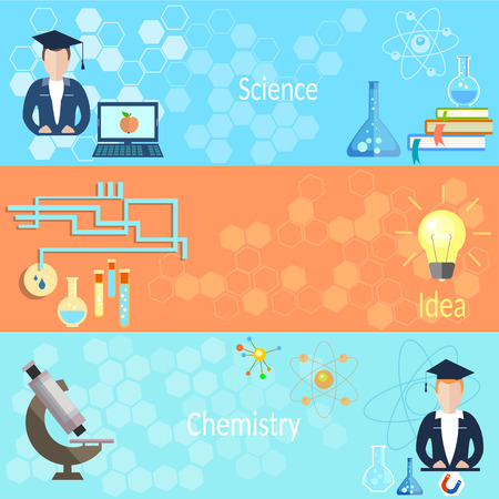 computer scientist: Education and Training: school, teacher, class, chemistry, physics, computer, microscope, students, online learning, vector banners Illustration