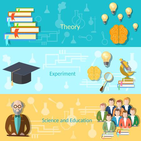 estudiantes de colegio: Ciencia y Educaci�n Superior estudiantes profesor mente poder examen universitario, clases de estudio, el aprendizaje de banderas del vector
